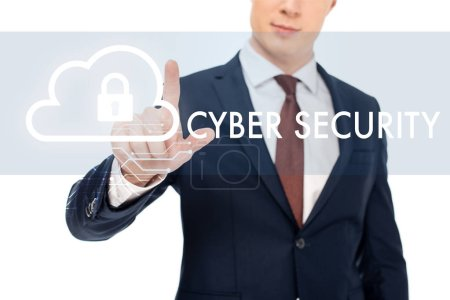 Photo for Partial view of businessman in suit pointing with finger at cyber security illustration - Royalty Free Image