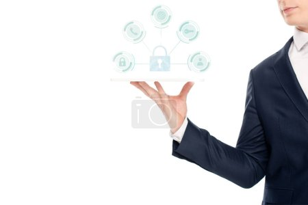Photo for Cropped view of businessman holding digital tablet with internet security icons above - Royalty Free Image