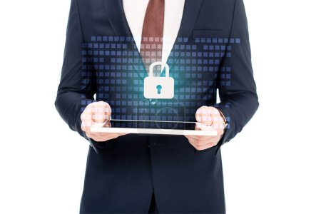 Photo for Partial view of businessman holding digital tablet in hands with internet security icon above - Royalty Free Image