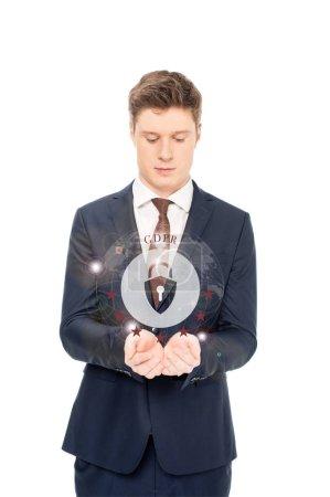 Foto de Hombre de negocios en traje mirando extendidos las manos con internet seguridad icono y gbpr Letras arriba aisladas sobre fondo blanco - Imagen libre de derechos