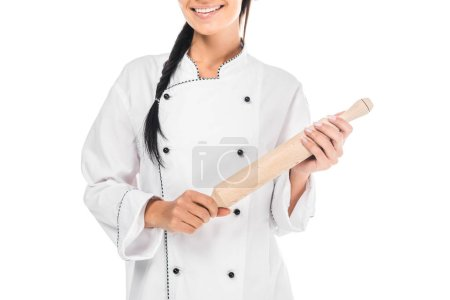 Photo for Cropped view of chef in uniform holding rolling pin isolated on white - Royalty Free Image