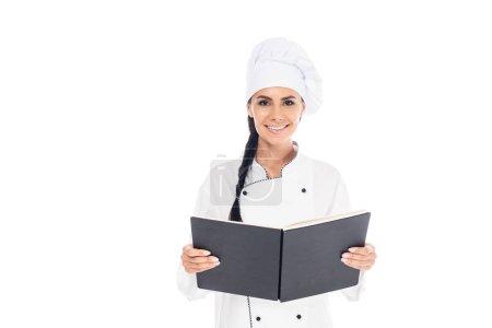 Photo pour Chef en uniforme tenant livre noir isolé sur blanc - image libre de droit