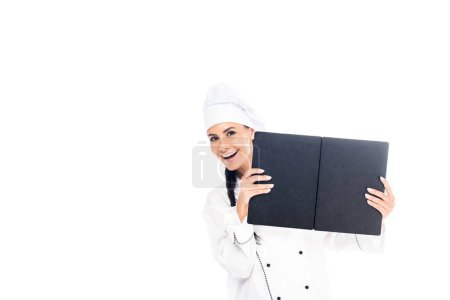 Photo for Chef in uniform holding black book isolated on white - Royalty Free Image