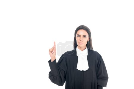 Photo for Judge in judicial robe showing idea gesture isolated on white - Royalty Free Image