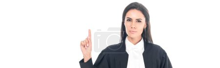 Photo for Panoramic shot of judge in judicial robe showing idea gesture isolated on white - Royalty Free Image