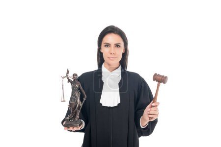 Photo for Judge in judicial robe holding gavel and themis figurine isolated on white - Royalty Free Image