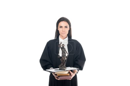 Photo for Judge in judicial robe holding themis figurine, books and clipboard isolated on white - Royalty Free Image