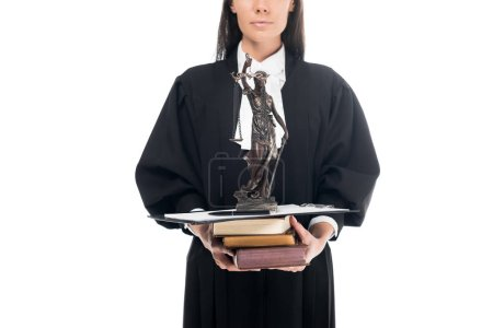 Photo for Cropped view of judge in judicial robe holding themis figurine, books and clipboard isolated on white - Royalty Free Image