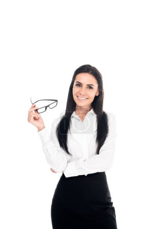 Photo for Smiling businesswoman in formal wear holding glasses isolated on white - Royalty Free Image