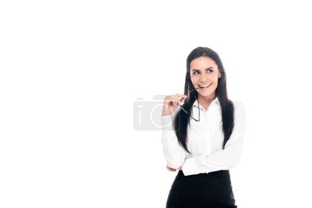 Photo for Attractive businesswoman with glasses looking away with smile isolated on white - Royalty Free Image