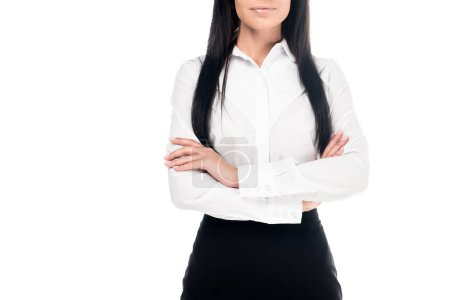 Photo for Cropped view of businesswoman in shirt standing with folded arms isolated on white - Royalty Free Image