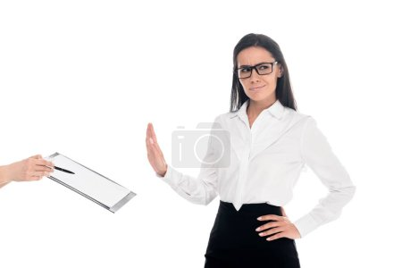 Photo for Dissatisfied businesswoman in glasses refusing to sign contract isolated on white - Royalty Free Image