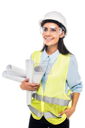 Photo pour Ingénieur en casque et lunettes tenant des plans isolés sur blanc - image libre de droit