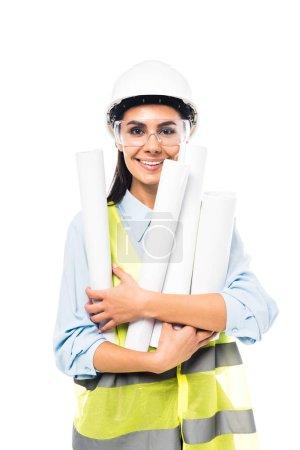 Photo pour Ingenieur en casque et des lunettes maintenant bleus isolés sur blanc - image libre de droit