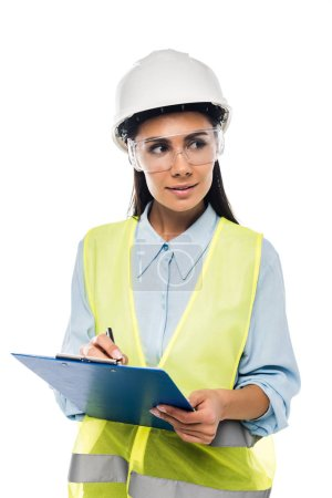 Photo for Engineer in hardhat holding clipboard isolated on white - Royalty Free Image