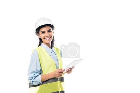 Photo pour Ingénieur en sécurité gilet aide numérique comprimé isolé sur blanc - image libre de droit