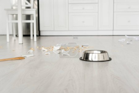 Photo for Metal bowl, wooden spoon and broken dishes on floor in kitchen - Royalty Free Image