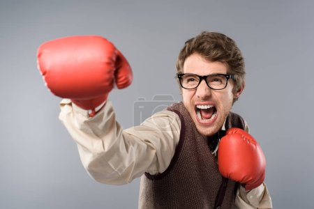 Photo for Angry man in glasses and boxing gloves screaming on grey background - Royalty Free Image