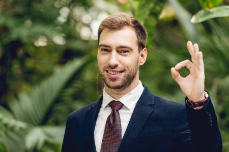 Photo for Happy smiling businessman in suit and tie showing okay sign in orangery - Royalty Free Image