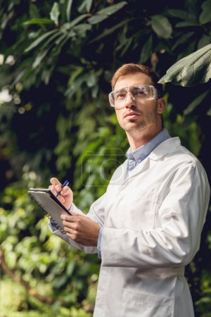 Photo for Scientist in white coat and goggles making notes in green orangery - Royalty Free Image