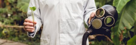 Photo pour Vue recadrée d'un scientifique en manteau blanc tenant un masque à gaz en caoutchouc et une fiole avec échantillon de plante en orangerie - image libre de droit