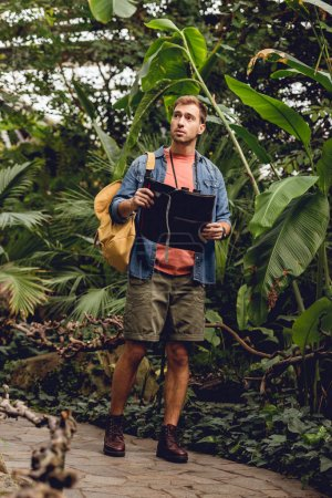 Photo for Handsome traveler with binoculars and backpack holding map and walking in green tropical forest - Royalty Free Image