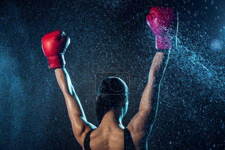 Photo pour Vue arrière du boxeur dans les gants de boxe rouge montrant Oui geste sur le noir - image libre de droit