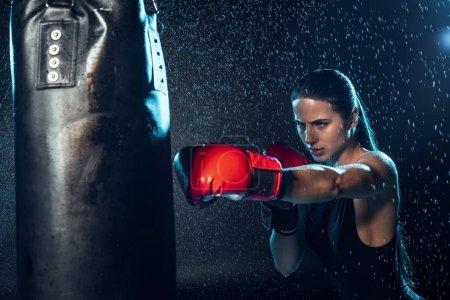 Photo pour Boxer fort en gants de boxe rouge s'entraînant sous l'eau gouttes sur noir - image libre de droit