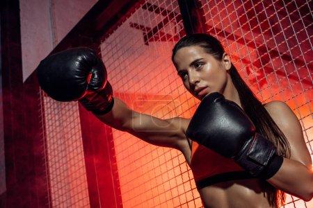 Photo pour Vue de bas angle du boxeur dans les gants noirs de boxe formant près de filet de fil et regardant loin - image libre de droit