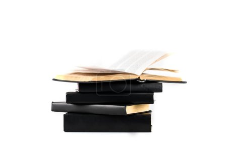 Photo for Stack of black hardcover books isolated on white - Royalty Free Image