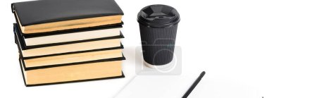Photo for Panoramic shot of books, paper cup, notebook and pencil on white - Royalty Free Image