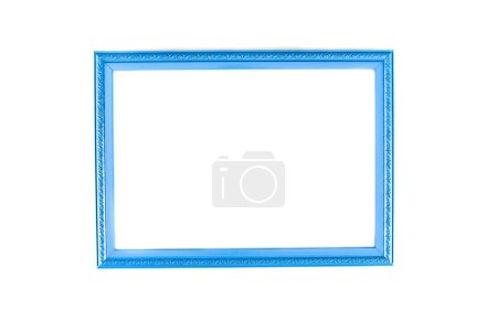 Photo for Blue decorative frame with ornament isolated on white - Royalty Free Image