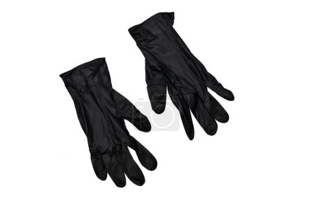 Photo for Two black rubber gloves isolated on white surface - Royalty Free Image