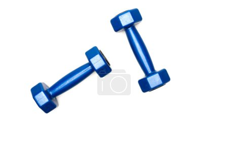 Top view of blue dumbbells isolated on white