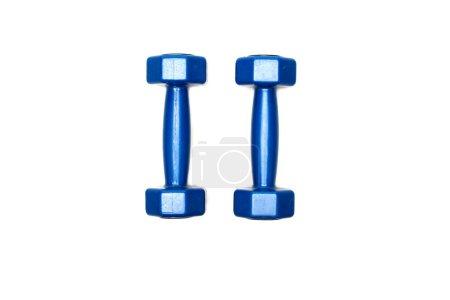 Photo pour Vue de dessus des haltères bleues isolées sur blanc - image libre de droit