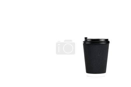 Photo for Black paper cup of coffee isolated on white - Royalty Free Image