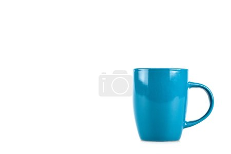 Big blue ceramic cup isolated on white background