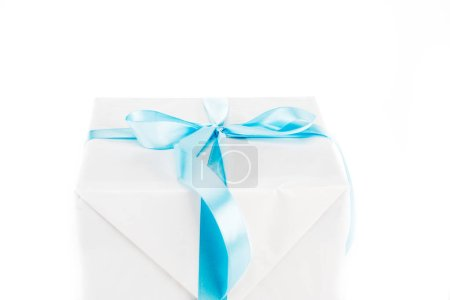 Photo for White gift box with blue ribbon isolated on white - Royalty Free Image