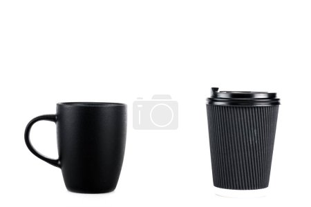 Photo for Black ceramic cup and paper cup of coffee isolated on white - Royalty Free Image