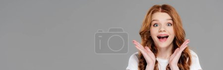 Photo for Panoramic shot of beautiful excited redhead girl looking at camera and gesturing with hands isolated on grey - Royalty Free Image
