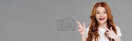 Photo for Panoramic shot of beautiful excited redhead girl pointing with fingers isolated on grey with copy space - Royalty Free Image
