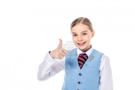 happy schoolgirl in formal wear doing thumb up sign Isolated On White