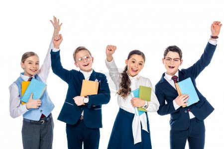 Photo for Happy schoolchildren with outstretched hands holding books Isolated On White - Royalty Free Image