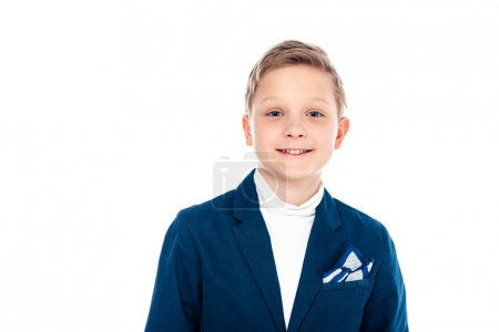 Photo for Smiling schoolboy in formal wear looking at camera Isolated On White - Royalty Free Image