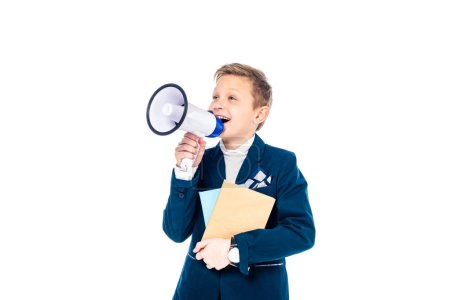 Photo for Happy schoolboy with books shouting in mouthpiece Isolated On White - Royalty Free Image