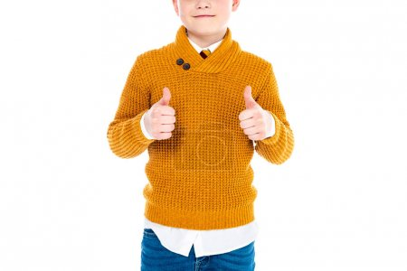 cropped view of boy in casual clothes showing thumbs up isolated on white