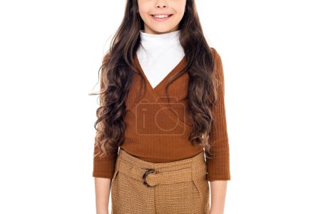 Cropped view of smiling kid in casual clothing Isolated On White
