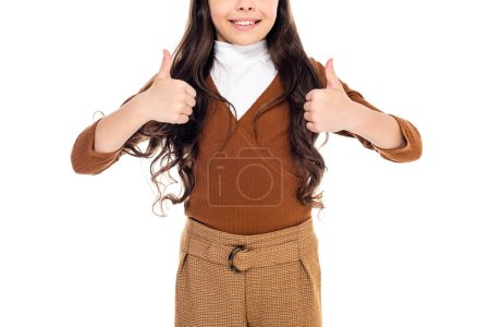 Cropped view of smiling kid showing thumbs up signs Isolated On White