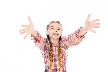 Photo for Adorable kid with outstretched hands looking at camera Isolated On White - Royalty Free Image