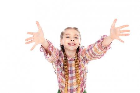 Foto de Niño adorable con las manos extendidas mirando la cámara aislado en blanco - Imagen libre de derechos